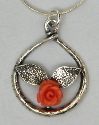 Silver coral flower necklace Israeli silver jewelry
