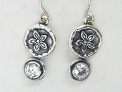 Silver earrings dangling floral design