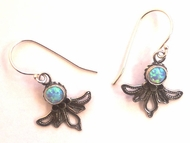 Silver earrings filigree handwork  with opal stones Made in Israel