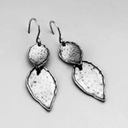 Sterling silver earrings leaf design