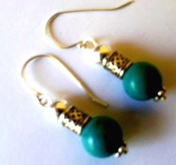 Silver earrings turquoise filigree