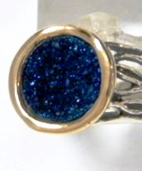 Silver gold druze stone ring