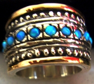 Silver gold ring set with opals