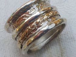 Silver Gold Ring spinning bands