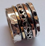 Silver & gold ring spinning rings from Israel