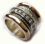 Silver Gold spinner CZ ring