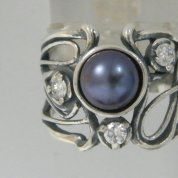 Silver jewelry | Boho Israeli ring |pearl and cz