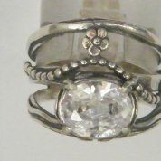 Sterling Silver jewelry CZ Boho ring Romantic  Floral ring