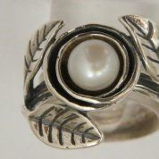 Silver jewelry | Boho ring | pearl ring