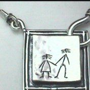 Silver jewelry   silver necklaces   Silver necklace Naive motif pendant - collier argent - collar plata