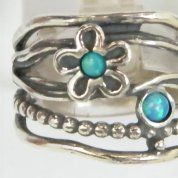 Silver jewelry | Silver ring | Opal ring |Flower ring