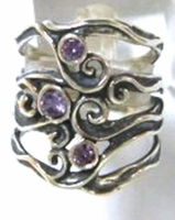 Silver jewelry zircons ring Delicate designer ring