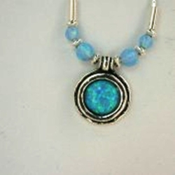 Silver Necklace with opals