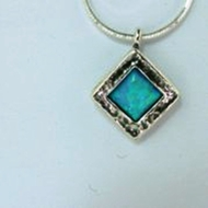 Silver Necklace with blue opal