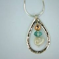 Silver Necklace aqua marine gemstones