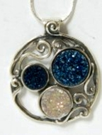 Silver Necklace Blue druze stone