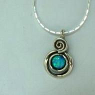 Silver Necklace Blue opal necklaces
