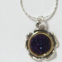 Silver Necklace Druze gemstone pendant