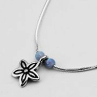 Silver Necklace Flower and opals