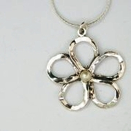 Silver Necklace Flower pearl designer pendant