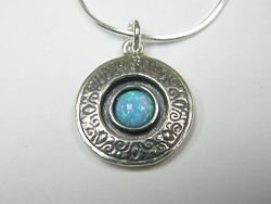 Silver necklace for woman opal pendant