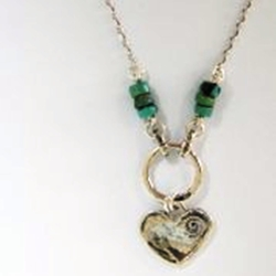 Silver Necklace heart pendant turquoises