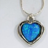 Silver Necklace opal heart pendant
