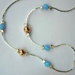 Silver necklace opals and goldfilled