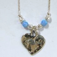 Silver Necklace Opals and heart pendant