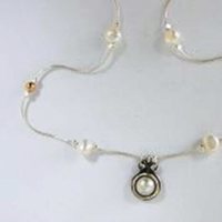 Silver Necklace pearls pendant and necklace