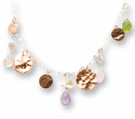 Silver necklace peridot, rose quartz, blue topaz, amethyst, goldfilled