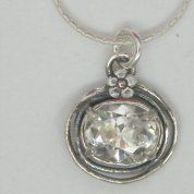 Silver Necklace  zircon floral necklace