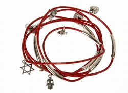 Silver plated red leather bracelet - Jewish symbols charms