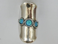 Silver ring set with opals Boho ring