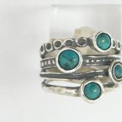 Silver ring turquoises boho jewelry