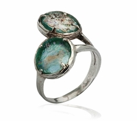 Silver ring with roman glass