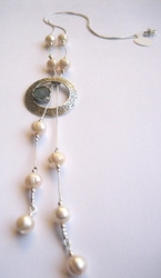 silver roman glass israeli necklace pearls sterling silver