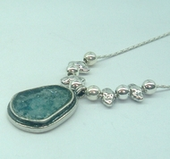Silver roman glass necklace, Israeli roman glass