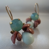 Soft and feminine dangle Earrings made of  blue swarovski  in a copper base