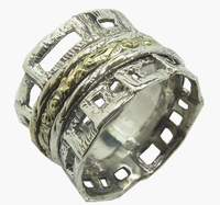 Spin Ring Israeli Jewelry contemporary silver and gold designer jewel