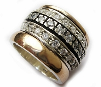 Spinner band cz ring engagement ring