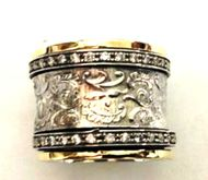 Spinner Filigree Floral silver 9 ct gold ring Bluenoemi CZ bands