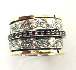 Spinner Filigree Floral Sterling silver 9 ct gold ring Bluenoemi Garnet band