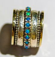 Spinner ring blue opal ring on sterling silver and 9K gold. Ring for woman