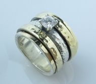 Cubic Zirconia Ring Spinner ring  cz zircon silver and gold
