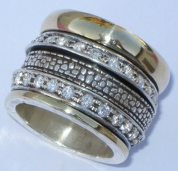 Spinner ring Cubic Zirconia Ring engagement ring wide band