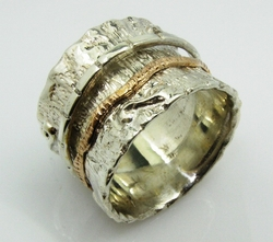 Spinner ring for man brushed silver gold