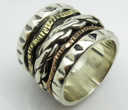 Spinner ring for men sterling silver 925 and 9 carat gold