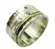 Spinner ring medium width designer jewelry floral design