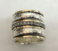Spinner ring set cz zirconia sterling silver & gold 9 ct